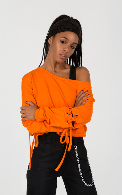 LACE UP SLEEVES SWEATSHIRT