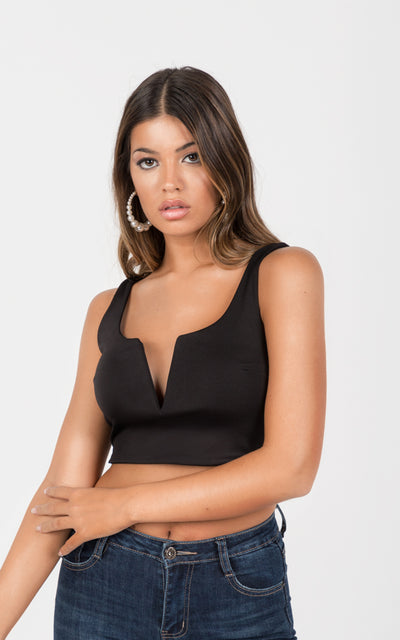 DEEP V NECKLINE CROPPED TANK TOP