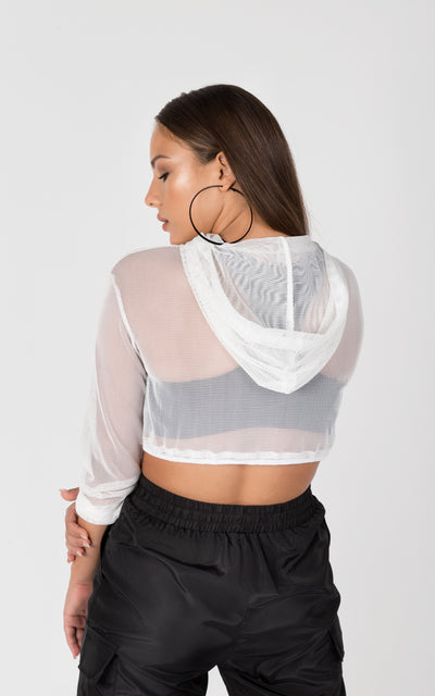 TRANSPARENT LONG SLEEVE CROPPED HOODIE