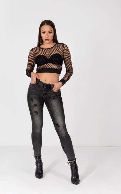 GRID MESH LONG SLEEVE CROP TOP