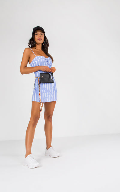 STRIPE LACE UP FRONT SPAGHETTI STRAP MINI DRESS