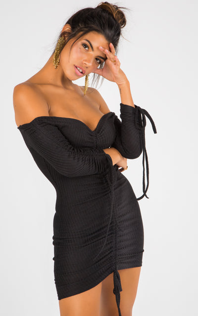 OFF-THE-SHOULDER RIBBED LACE UP BODYCON DRESS