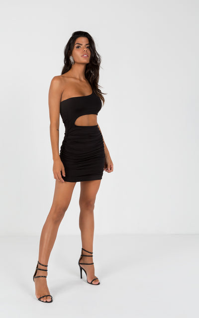 CUTOUT ONE SLEEVE BODYCON DRESSES