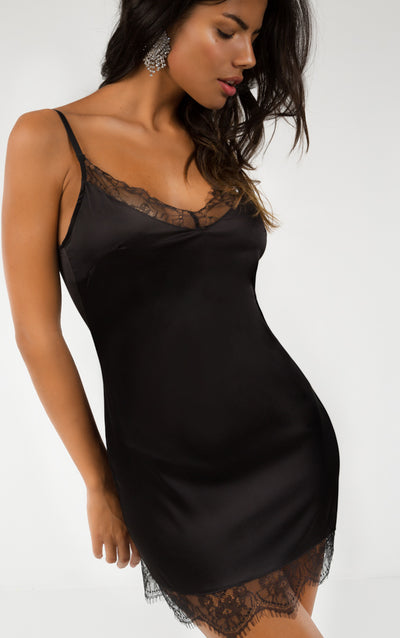 SATIN LACE TRIM BODYCON DRESS