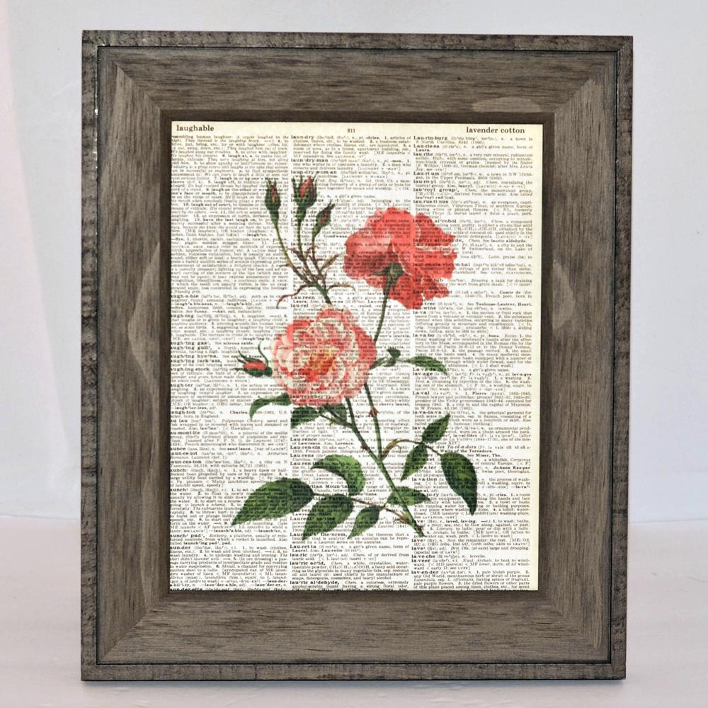 vintage prints on genuine original vintage pages, floral, birds, sets