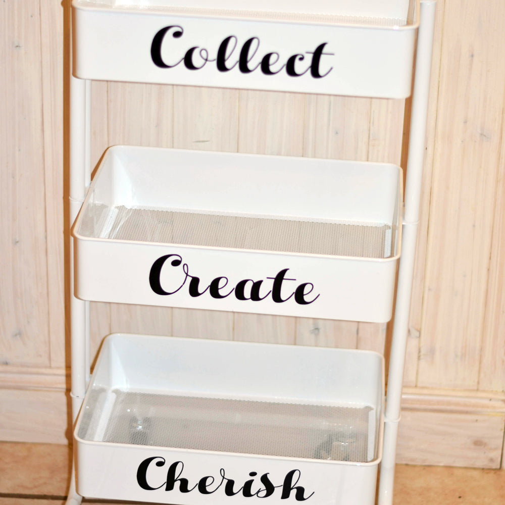 craft cart decals, collect, curate, cherish
