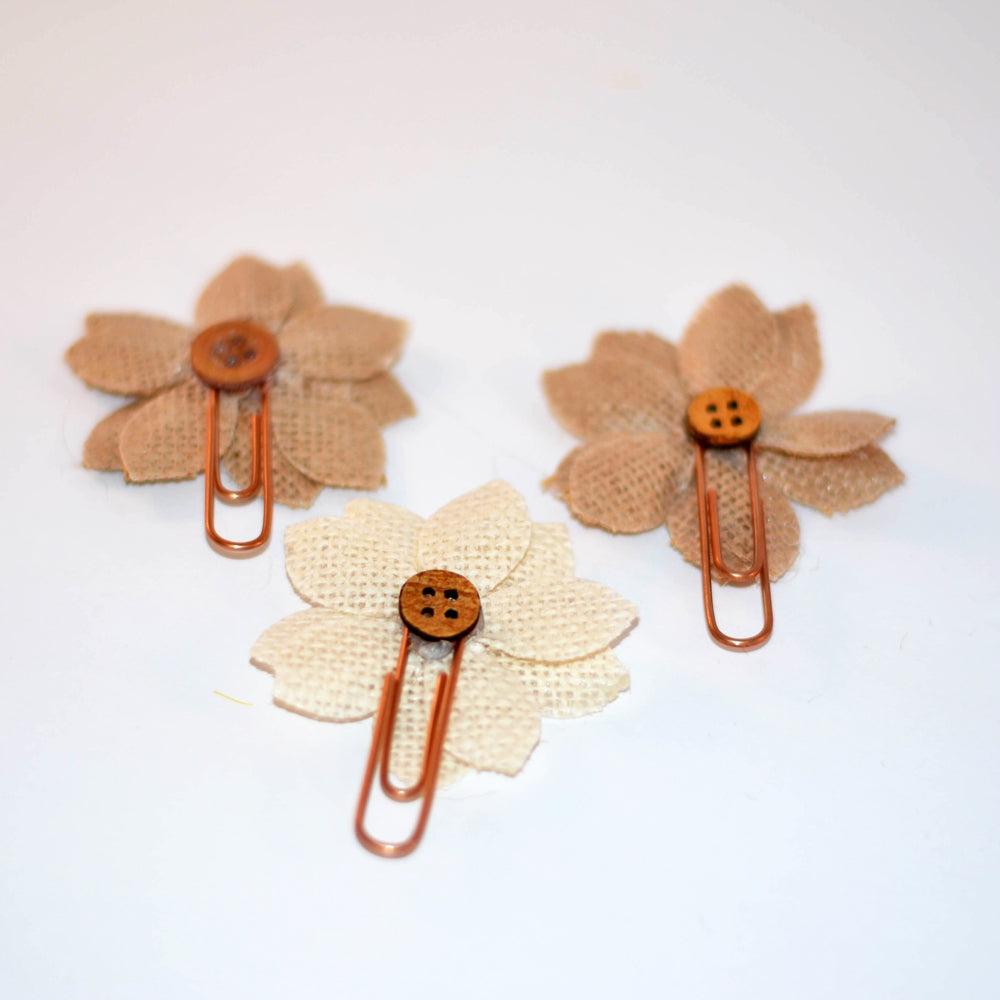 page clips, brown and cream burlap flowers, vintage buttons