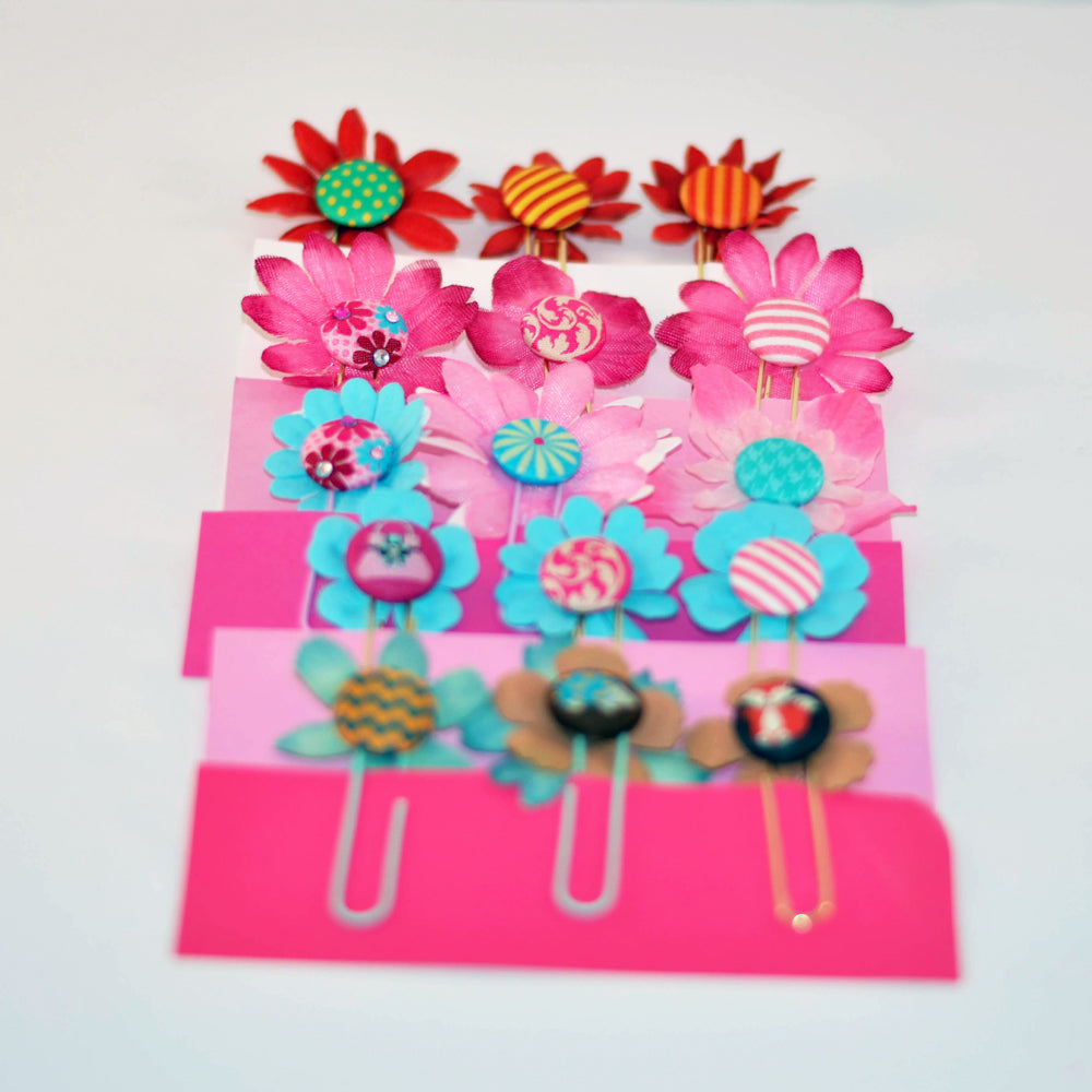pink and blue page clips, assorted flowers, bright colors