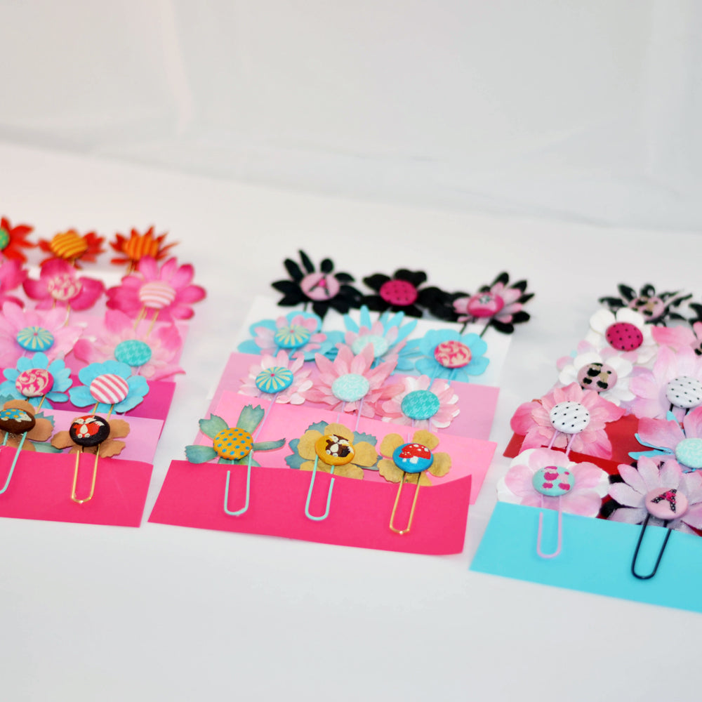 page clips, assorted flowers, bright colors