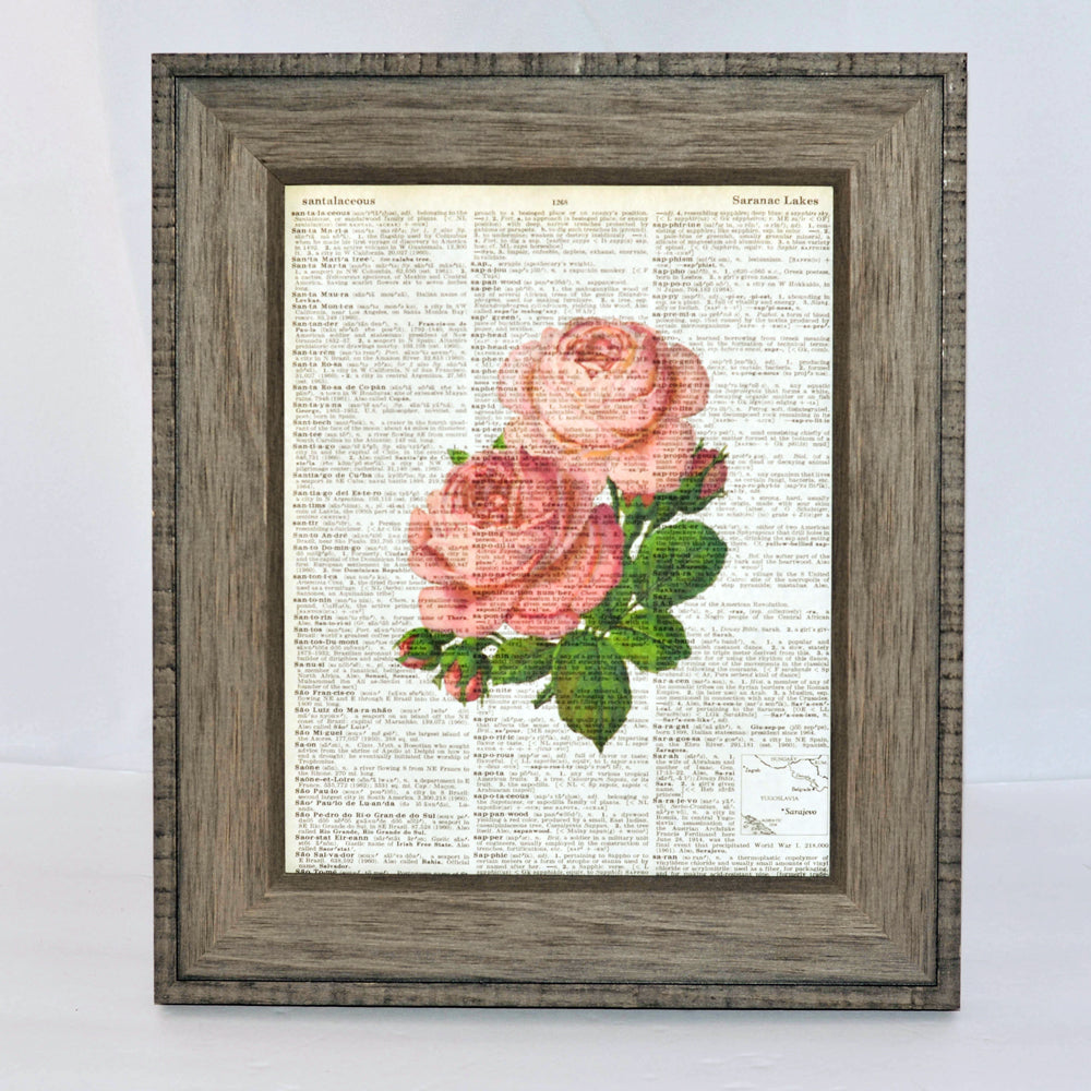 pink floral art print on vintage book page, original