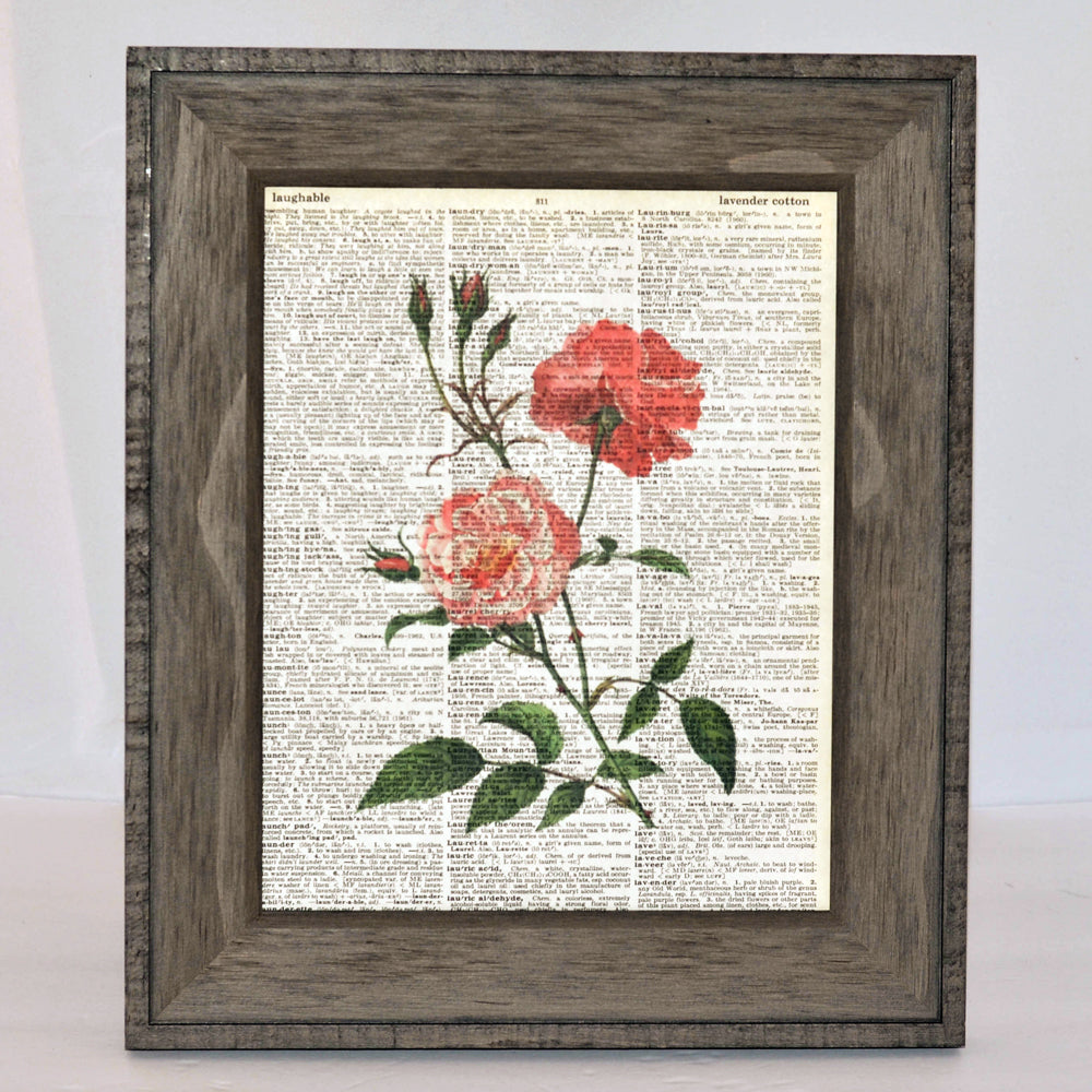 roses art print on vintage book page, original