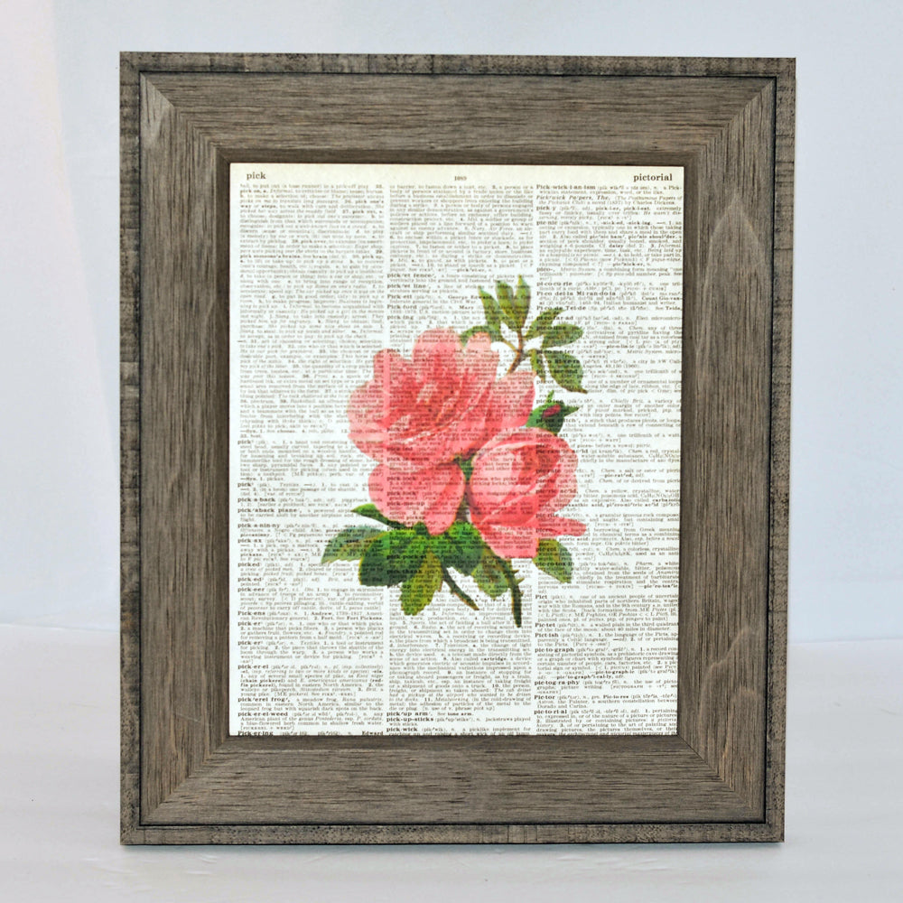 floral art print on vintage book page, original