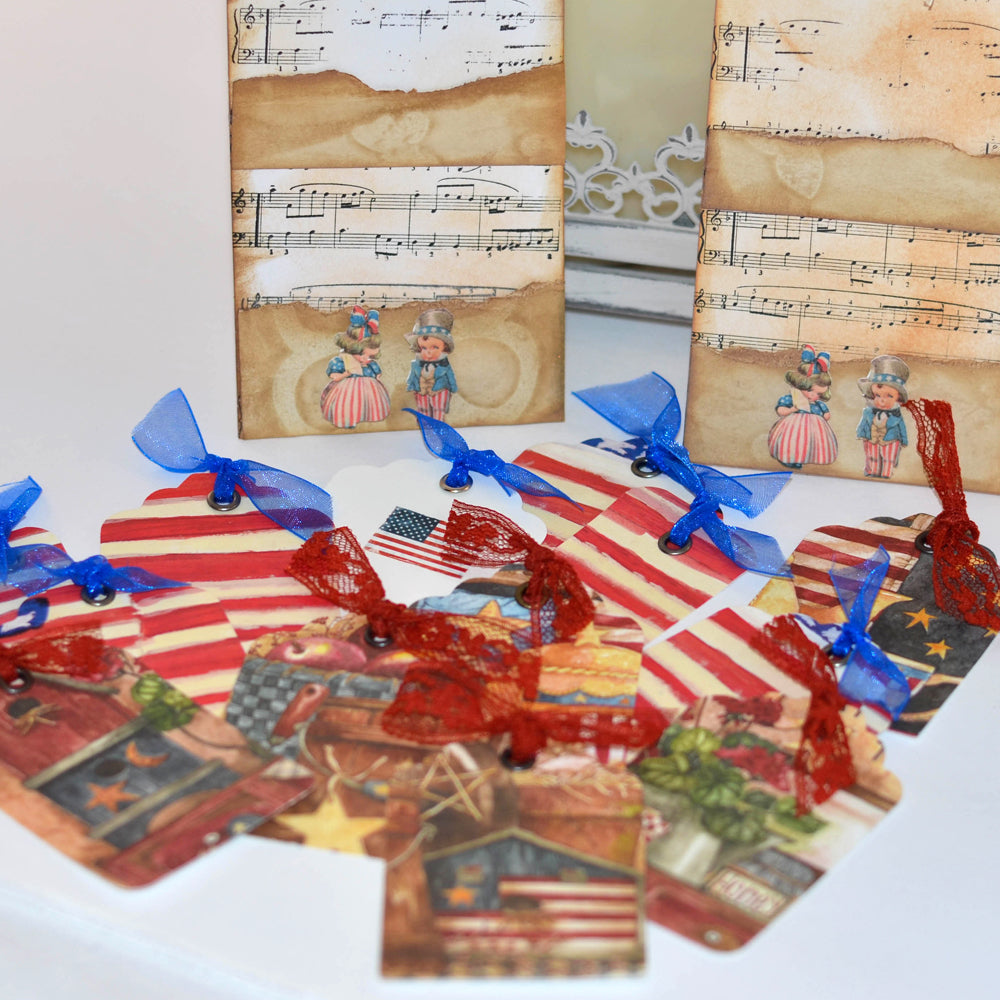 gift tag set, americana theme, red white blue, patriotic