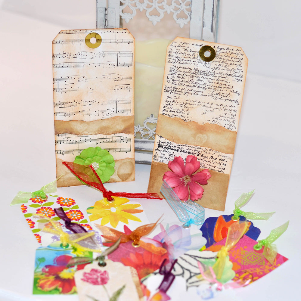 gift tag sets, floral theme, bright flowers with ribbon
