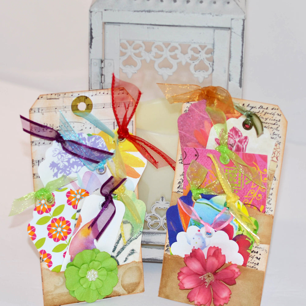 gift tag set, floral theme, bright flower tags with ribbon