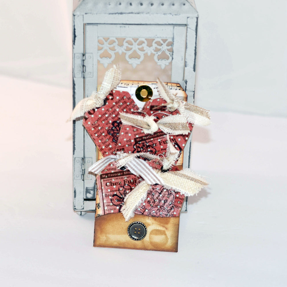 gift tag set, decoupaged vintage napkin, polka dots, fabric ribbon
