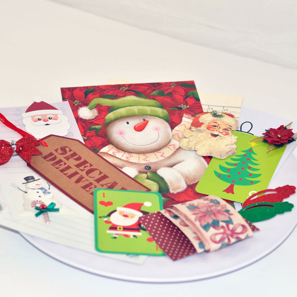 christmas junk journal kit, ephemera, junque, holiday, scrap pack