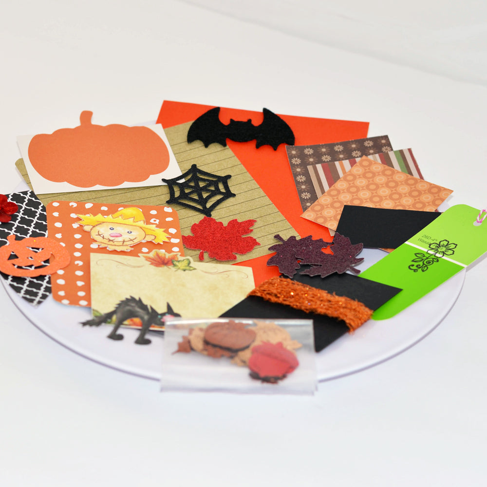 halloween junk journal kit, ephemera, junque, holiday, fall, scrap pack