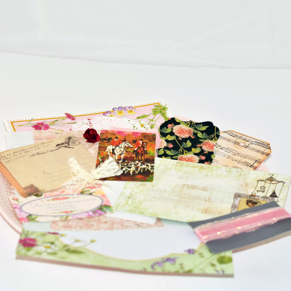 vintage floral junk journal kit, ephemera, junque, scrap pack