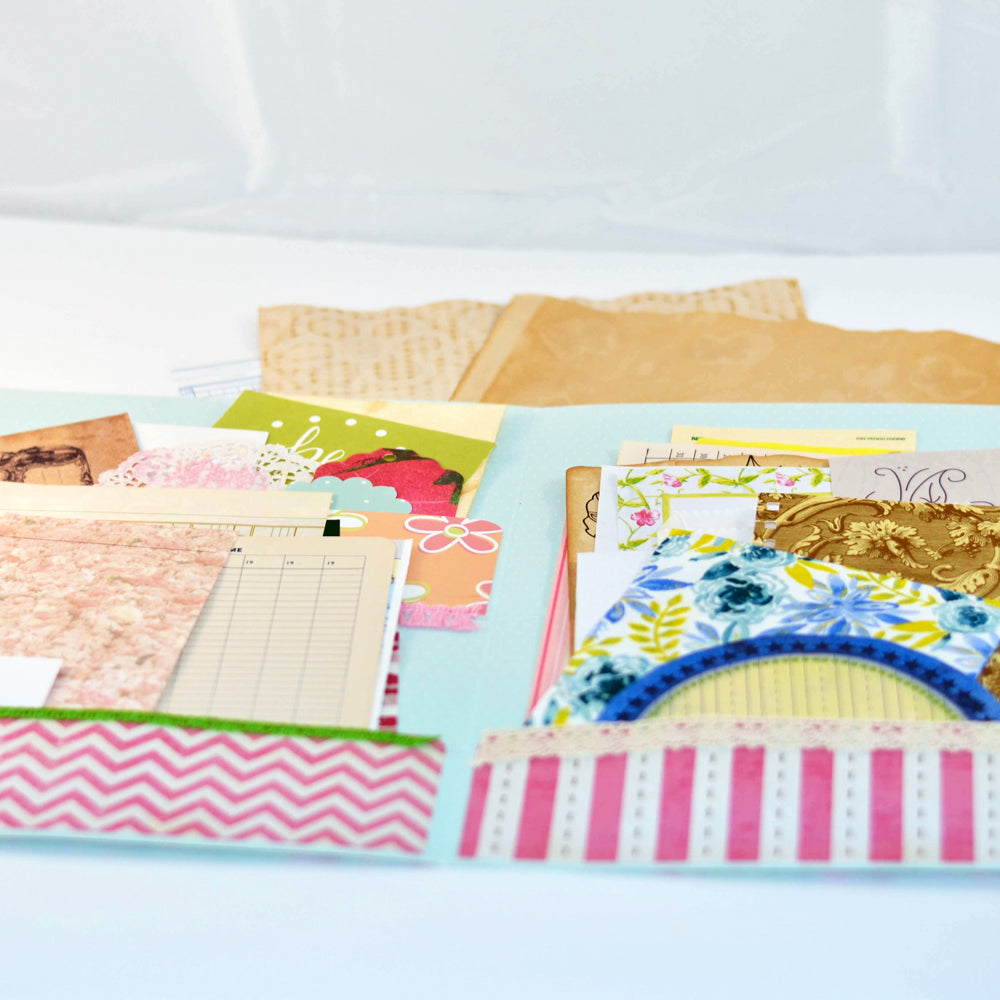 junk journal kits, vintage and modern materials, scrap pack assortment