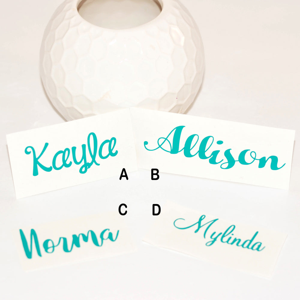 custom name decals, vinyl name decals