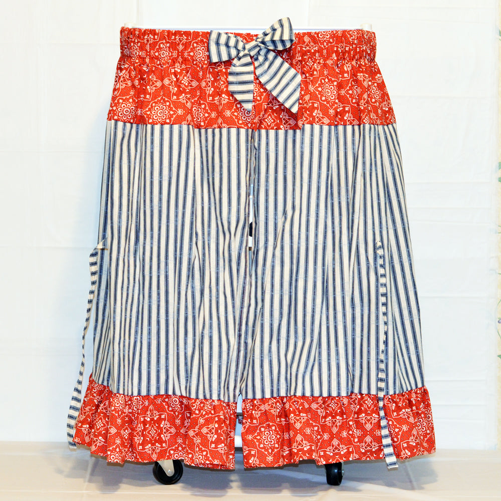 craft cart skirt, red and blue, navy, closed view, cotton, fabric
