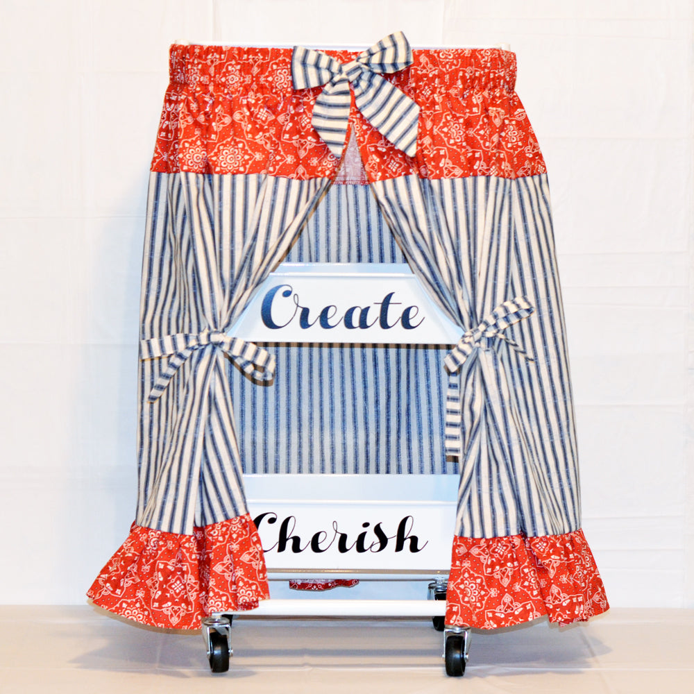 craft cart skirt in red and blue, navy, cotton, fabric, open view