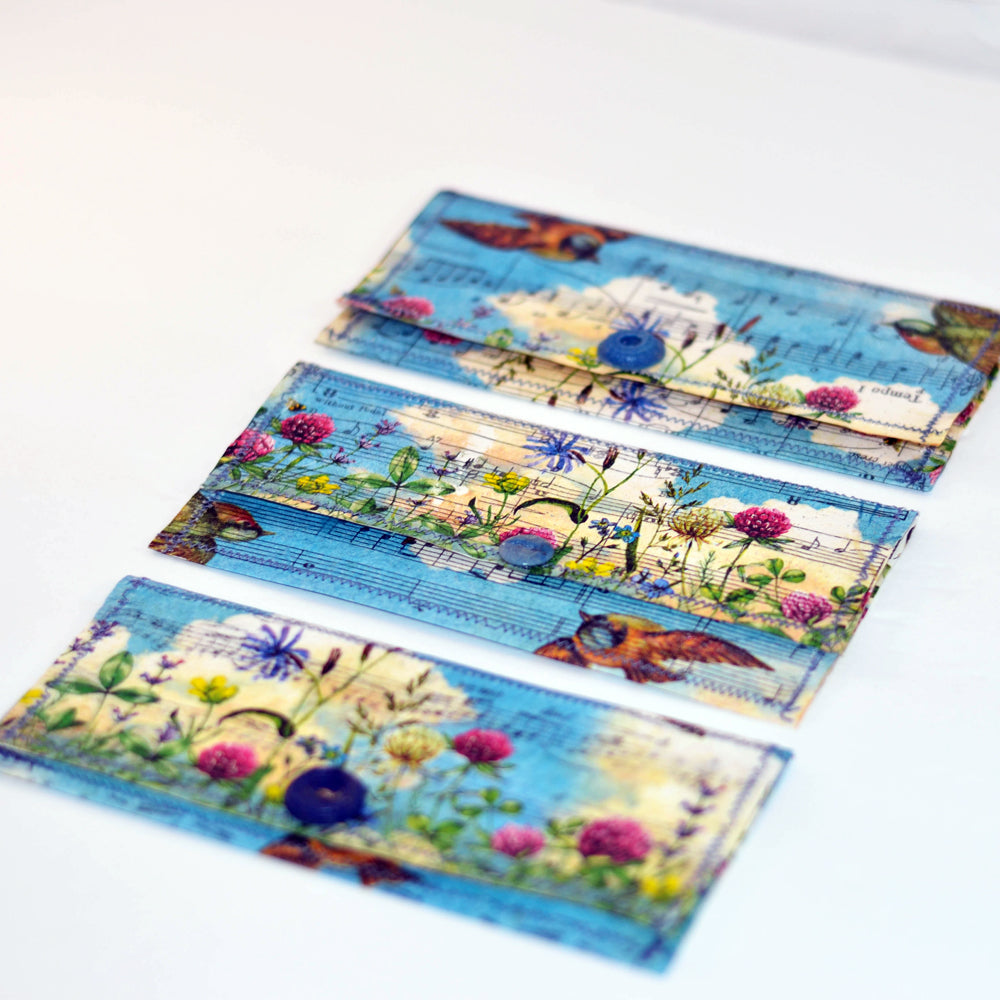 floral and birds handmade decoupaged paper envelopes