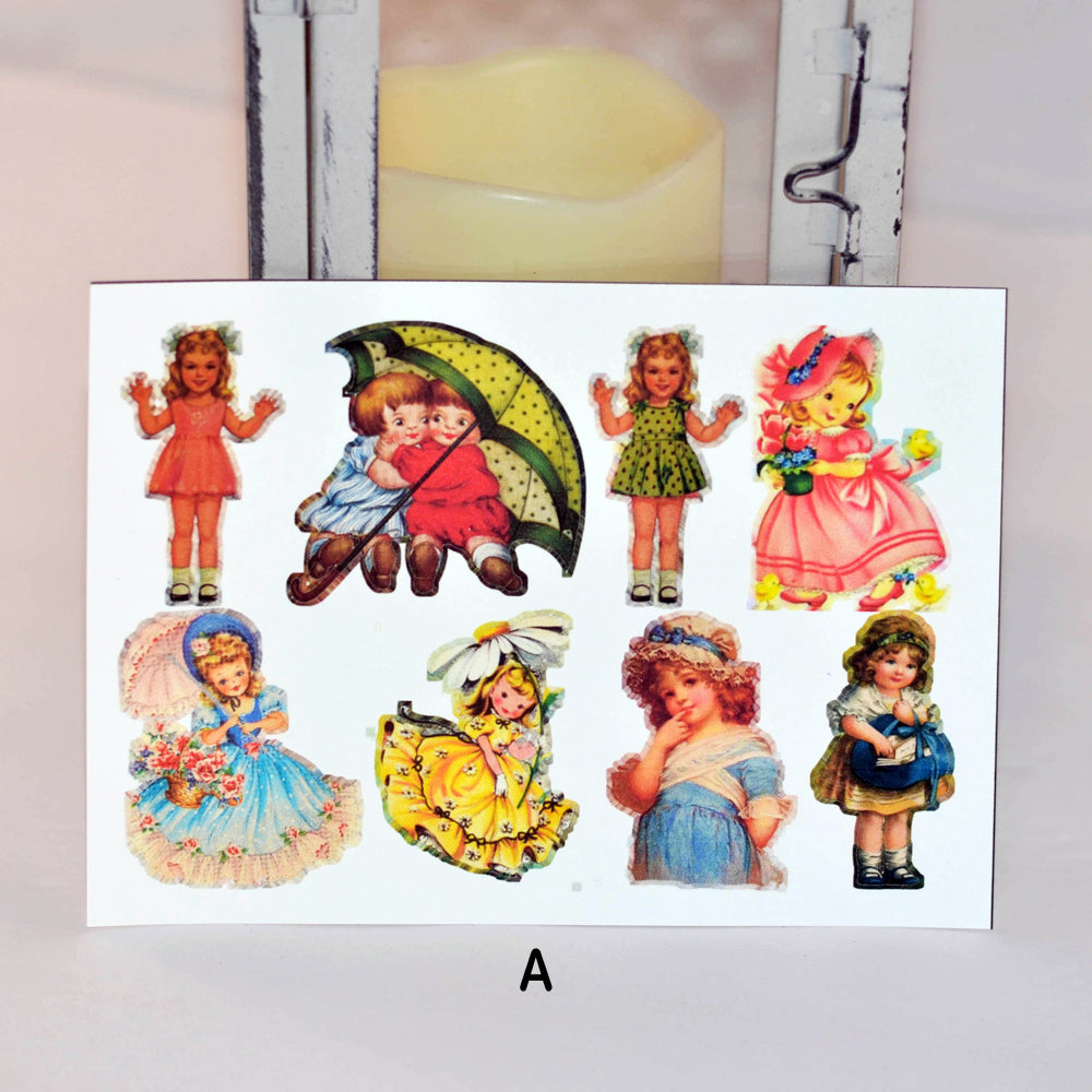 vintage girl sticker set, girls, stickers