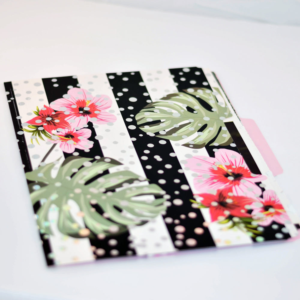 vintage floral folder holding floral photos and illustrations, set