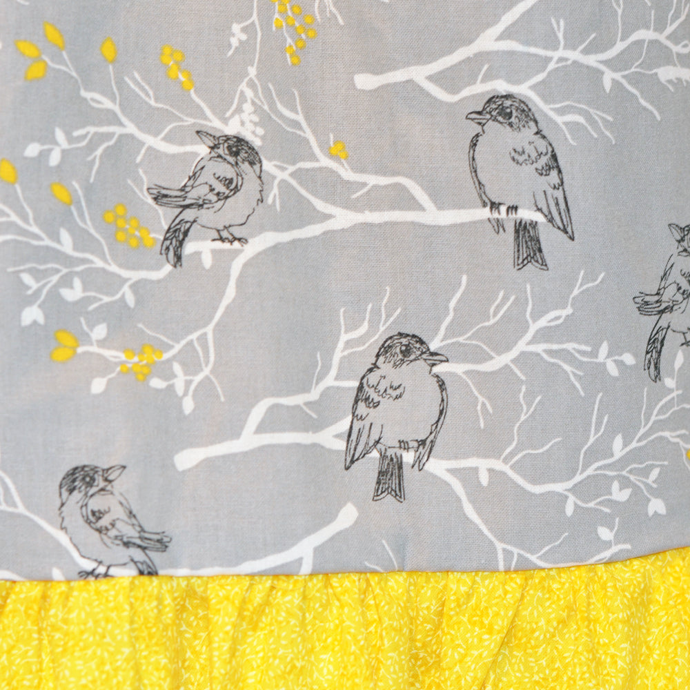 craft cart skirt detail, yellow and gray, grey, cotton, fabric