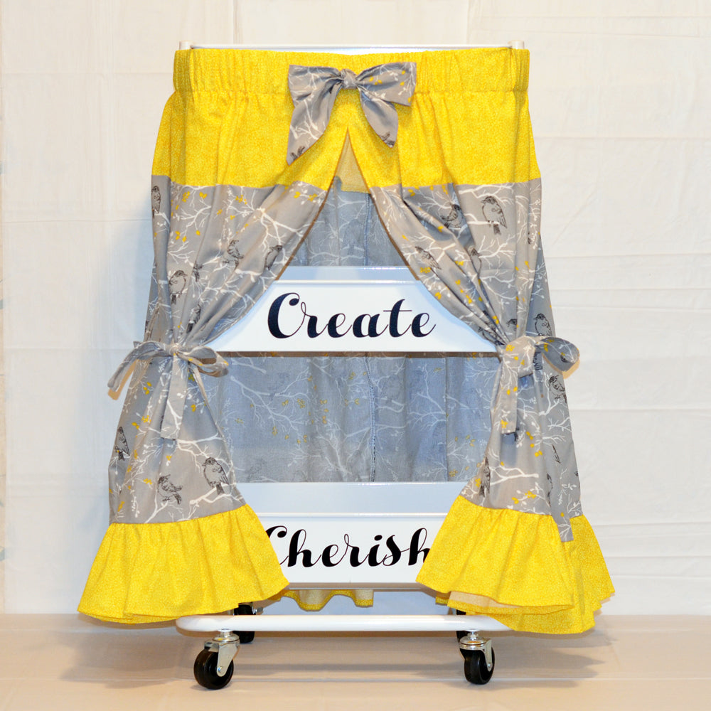 craft cart skirt in yellow and gray, grey, cotton, fabric