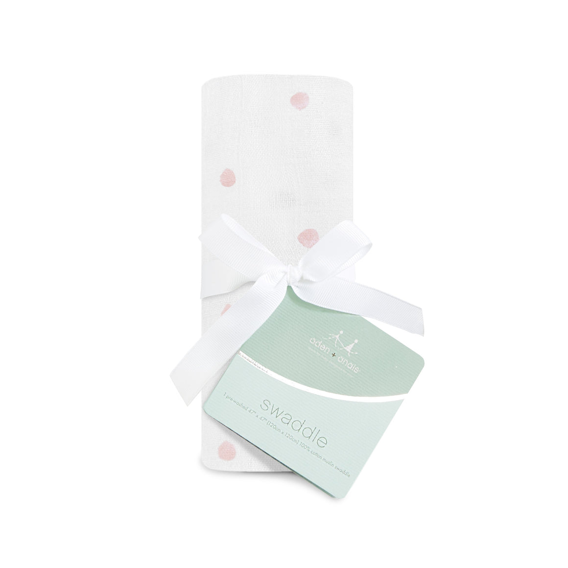 lovebird - rose water dot single swaddle
