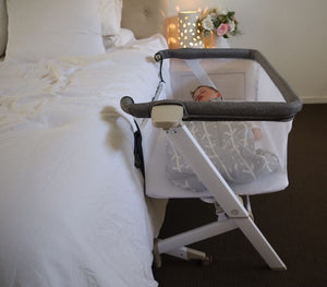 BEDSIDE SLEEPER with mattress (BONUS Carry bag) - WHITE WASH COLOUR
