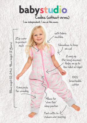 MY FIRST COOLIES SLEEPING BAG NO ARMS COTTON 1.0 TOG - CLOUDS PINK - SIZES