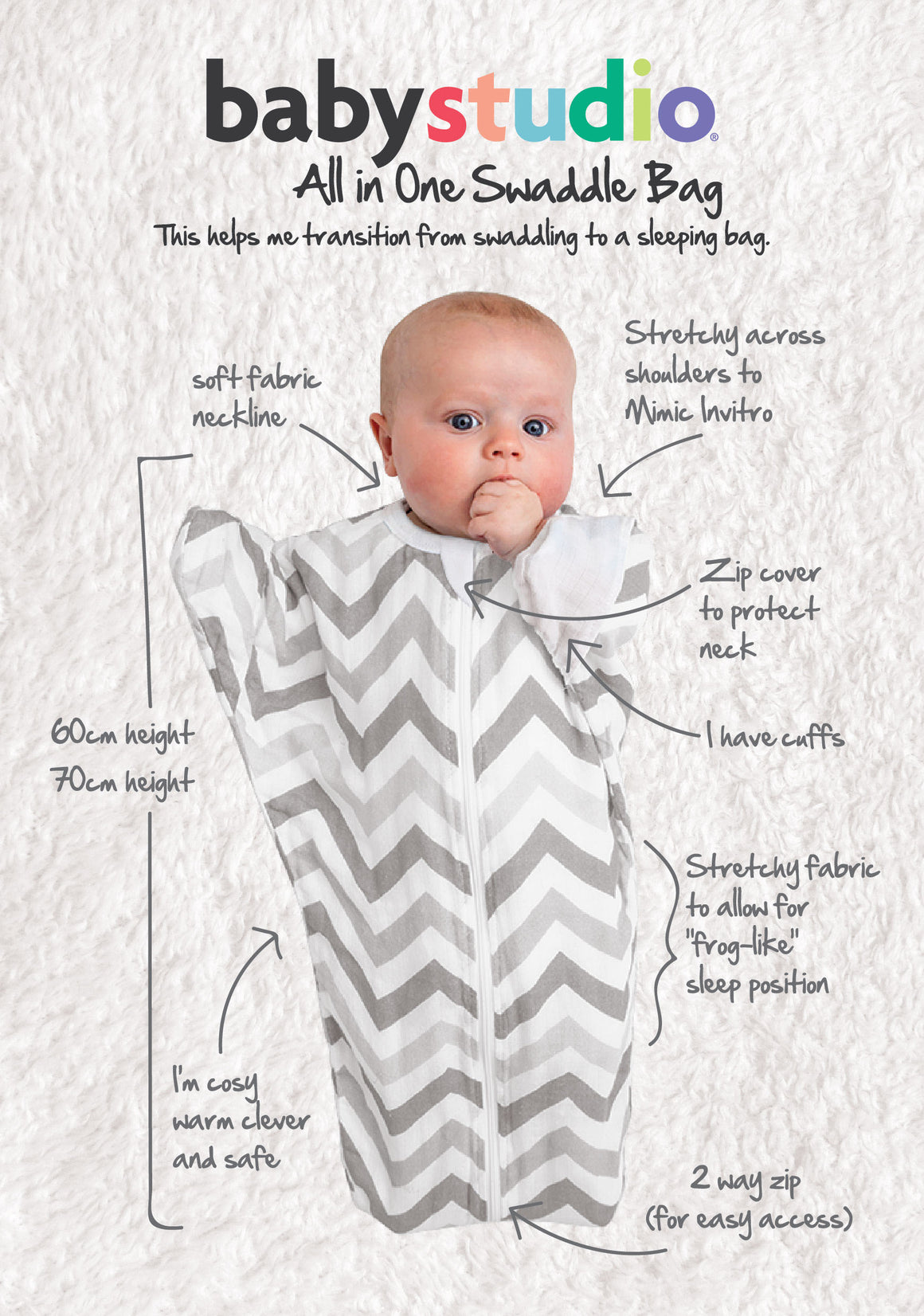 All In One Swaddle Bag 3-9 Months CLOUDS