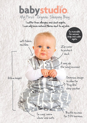 ORGANIC COTTON SLEEPING BAGS NO ARMS 2.5 TOG VARIOUS SIZES
