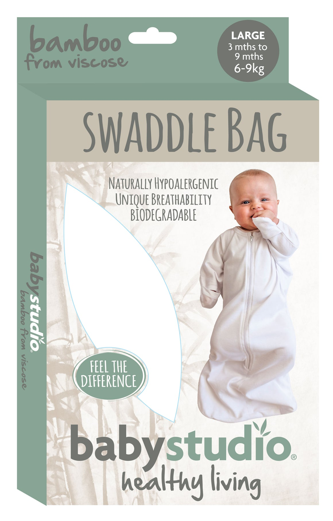 BAMBOO ALL IN ONE SWADDLE BAG LARGE 3-9M 0.2 TOG - WARM GREY