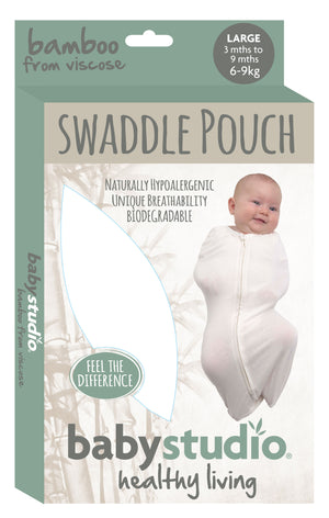 BAMBOO SWADDLEPOUCH SMALL 0-3M ONLY 0.2 TOG - BRIGHT WHITE