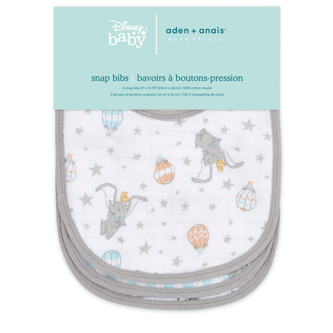 aden + anais essentials DISNEY Dumbo 3 pack snap bibs