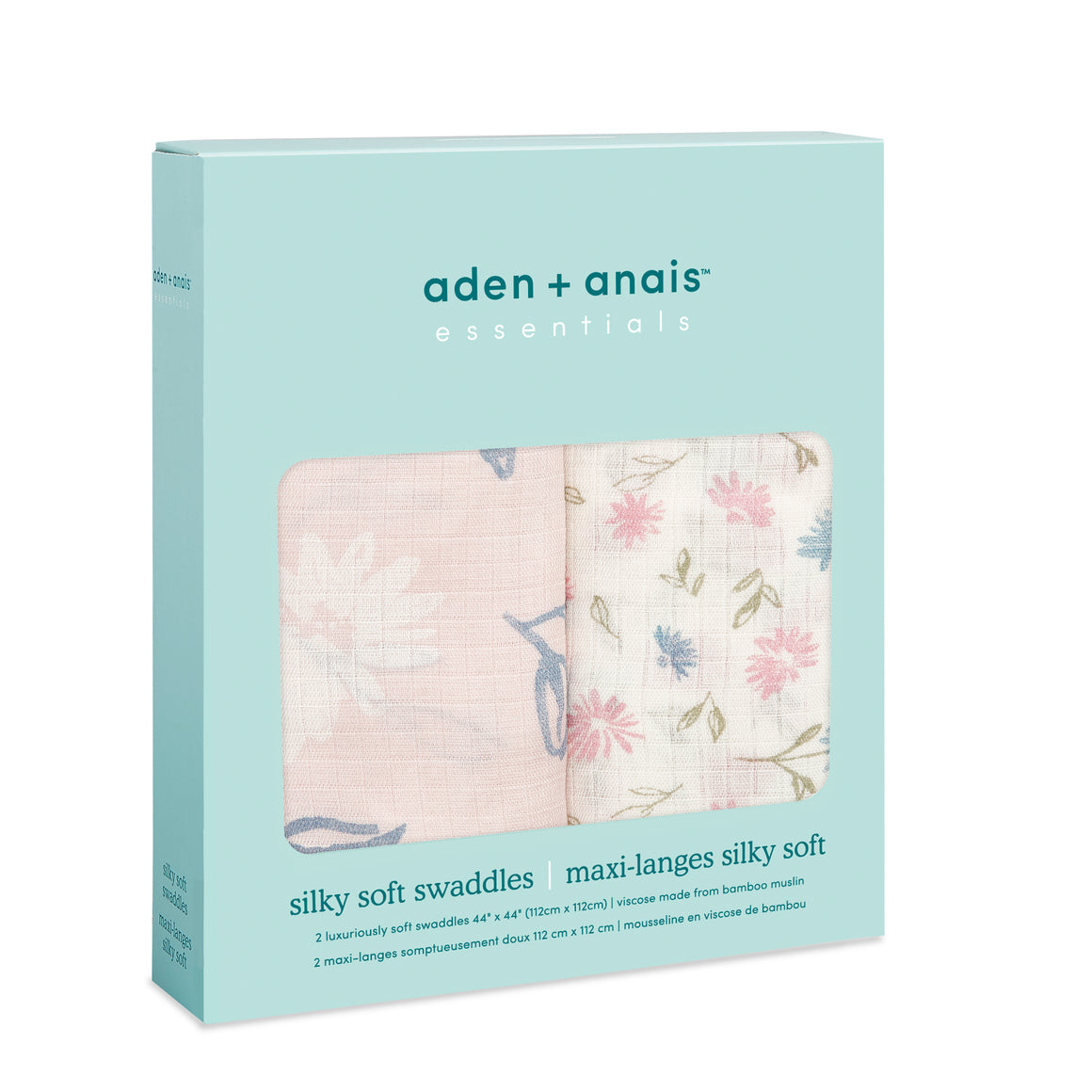 aden+anais essentials vintage floral 2 pack bamboo silky soft swaddles