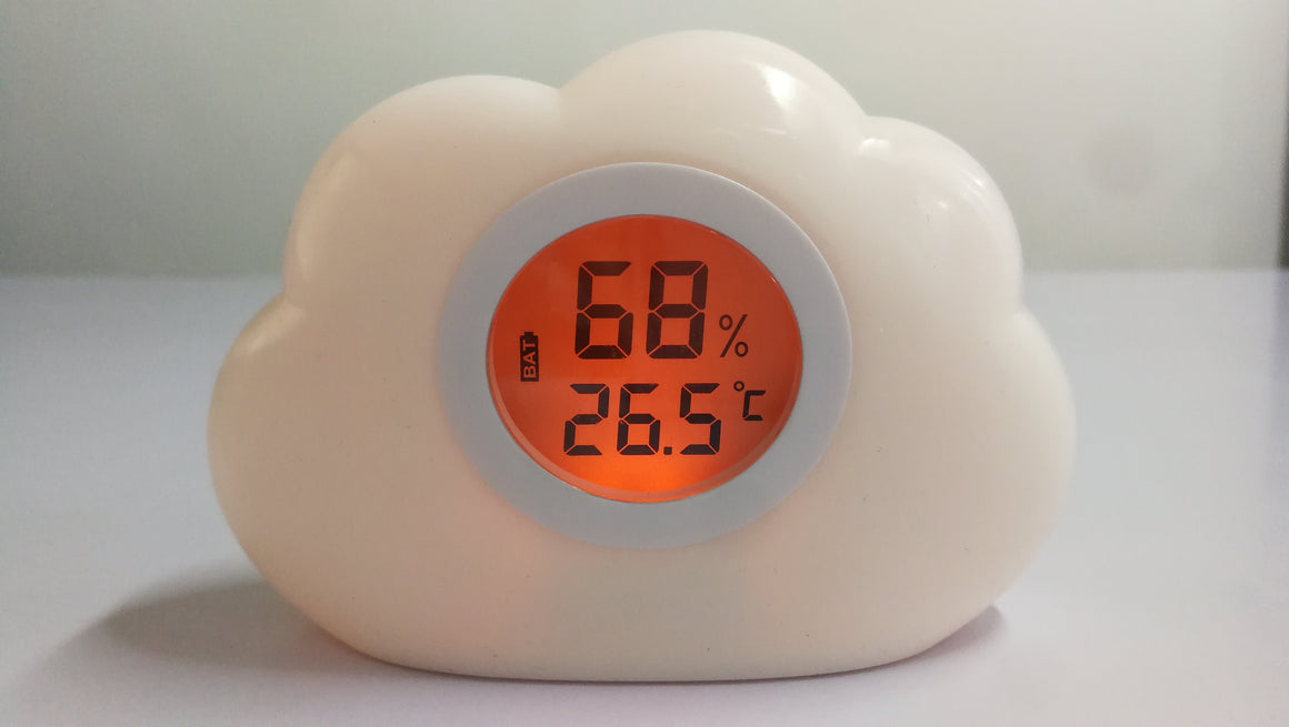 Cloud Night Light and Room Temperature Reading and Humidity Reading