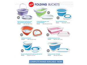 Round Folding Bucket with Handle & Lid Size: 31 x 27.5 cms