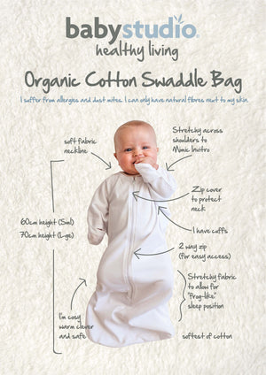 ORGANIC COTTON ALL IN ONE SWADDLE BAG LARGE 3-9M 1.0 TOG – BRIGHT WHITE