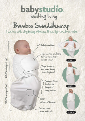 BAMBOO SWADDLEWRAP SMALL 0-3M ONLY 0.2 TOG - BRIGHT WHITE