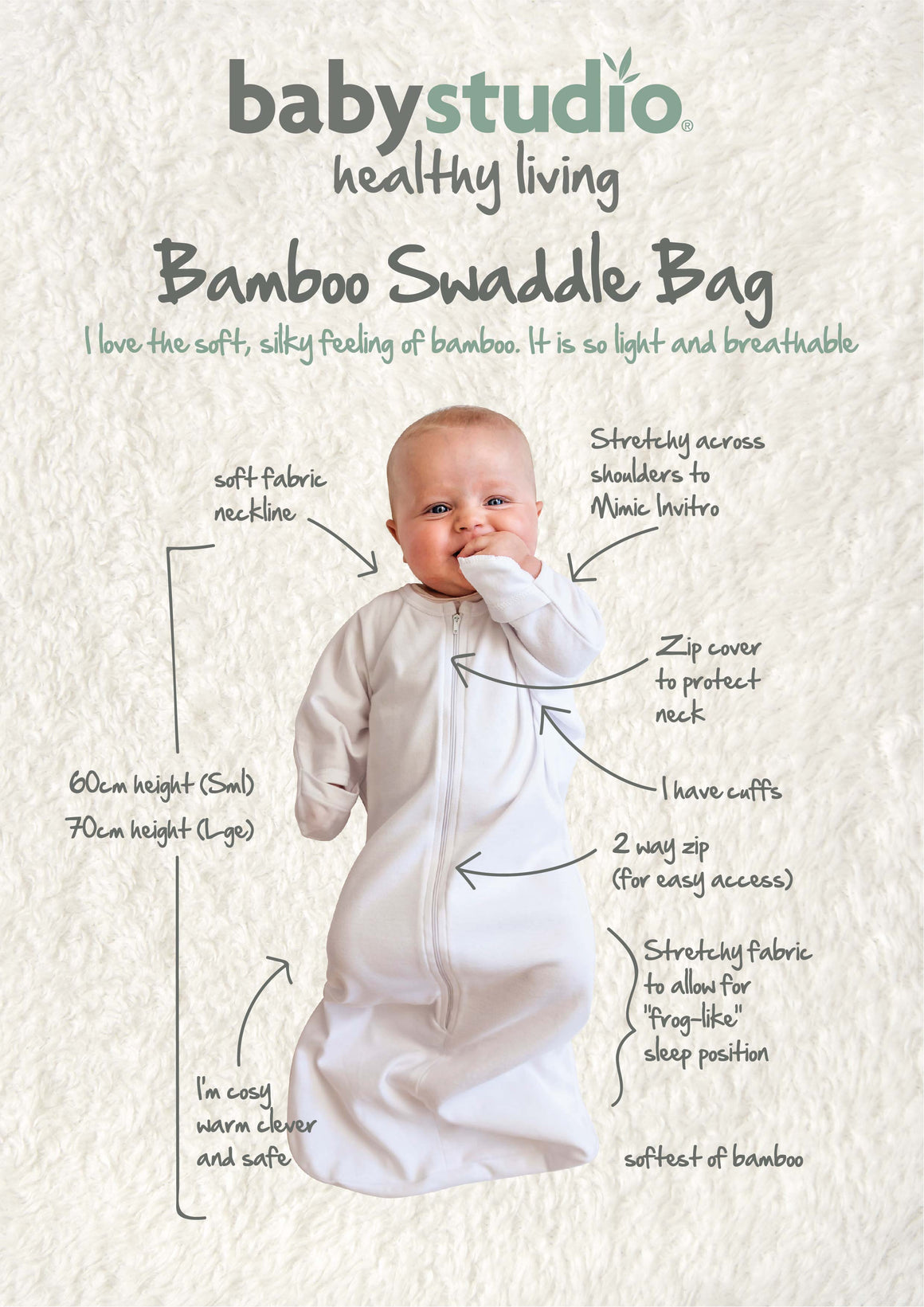 3-9M/00 ALL IN ONE SWADDLE BAG BAMBOO 0.5 TOG  - WARM GREY