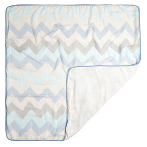 aden ziggy blue - broken chevron stroller blanket