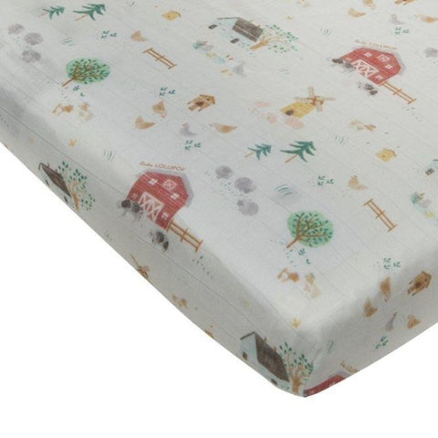 Muslin Fitted Cot Sheet - Animal Farm