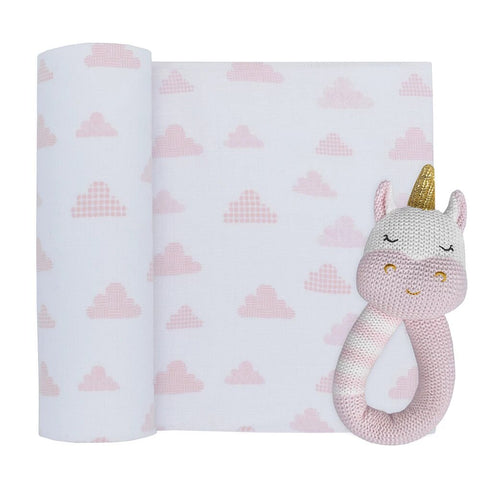 Kenzie The Unicorn Rattle & Muslin Gift Set