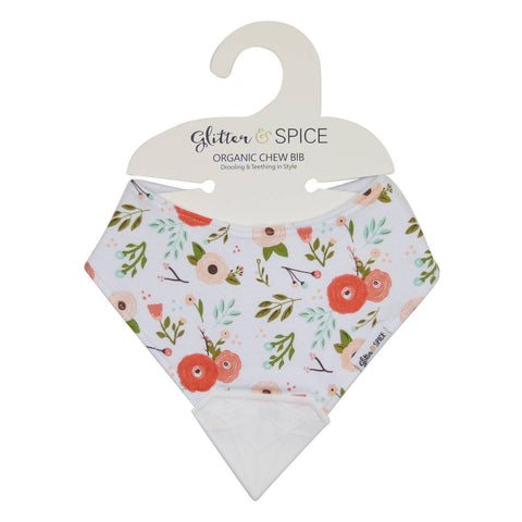 Organic Chew Bib - Poppies